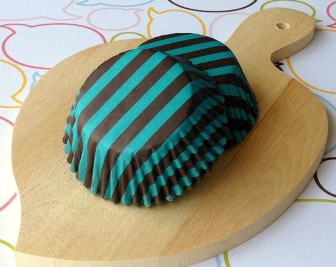 Dark Brown/Teal Stripe Standard Cupcake Liners