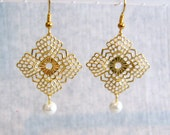 Gold Filigree with Pearl Pierced or Clip On Earrings