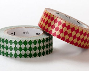 mt Washi Masking Tape - Diamonds in Viridian Green & Vermillion Red - Set 2
