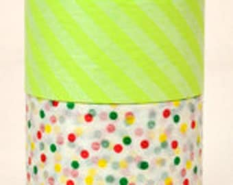 mt Washi Masking Tape - Lime Green Stripes & Confetti Dots - Wide Set 2 - C (15m rolls)