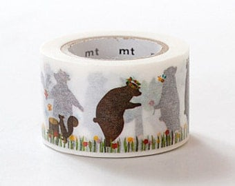 mt ex Washi Masking Tape - Bear & Squirrel (Comic Strip)