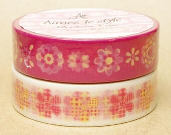 Aimez Washi Masking Tape - Flower Pattern & Quilted Flower