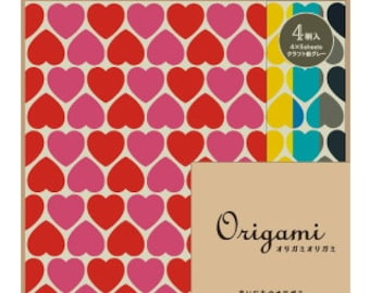 Japanese Origami Paper 15cm (6 inches) - Muted Hearts