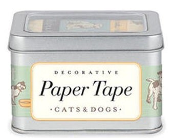 Cavallini & Co. Paper Masking Tape - Cats and Dogs - Set 5 with Steel Tin