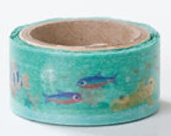 Round Top Masking Tape - Aquarium Fish - Die Cut