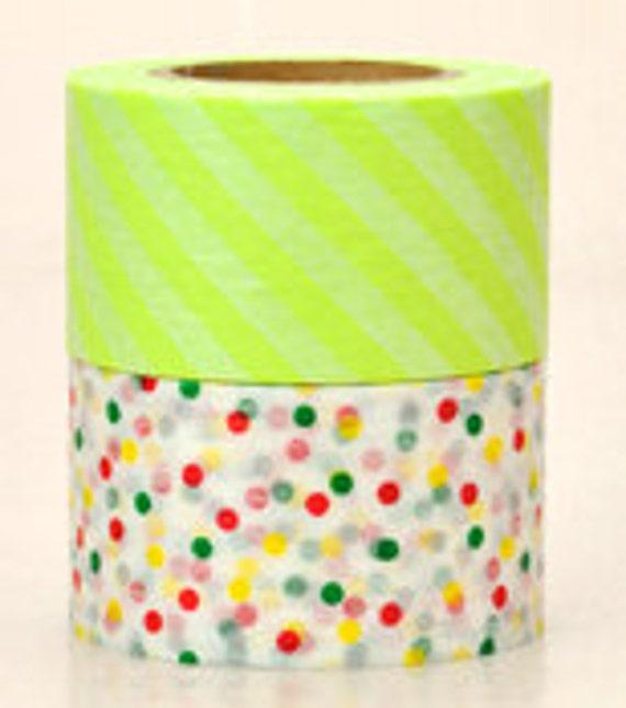 mt Washi Masking Tape - Lime Green Stripes & Confetti Dots - Wide Set 2 - C (15m rolls)