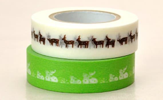Japanese Washi Masking Tape - Green & White Deer