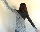Sky Blue Hand Knit Lace Triangle Shawl Scarf Wrap with leaf and zig zag motif