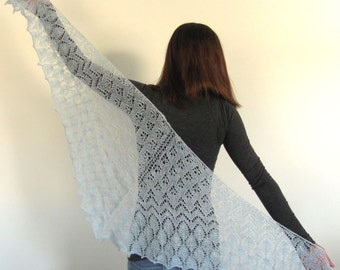 Sky Blue Hand Knit Lace Triangle Shawl Scarf Wrap with leaf and zig zag motif