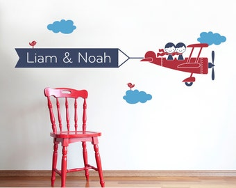 Kids Airplane Wall Decal Twin Seater Name Banner Nursery