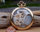 Sea Glass Pocket Watch Pendant Antique Gold Filled Beach Memories