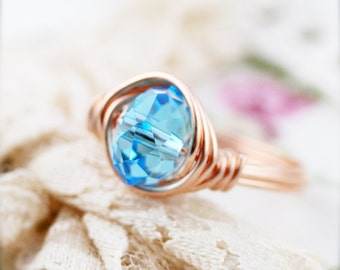 March birthstone color (BSR) - wire wrapped ring - glass crystal