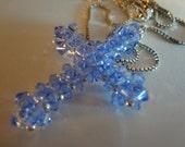 Light Sapphire Blue Crystal - Swarovski Crystal Cross and Sterling Silver Pendant