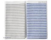 Tea Towels - Set of 2 Organic Linen Cotton Kitchen Towels. Blue & Beige Striped Dish Towels. Flax Linen tea towel. Linen dish towel