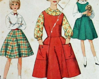 Vintage 1960s, Sewing Pattern,  Simplicity 4088, Jumper, Skirt and Blouse, Girls Chubbies' Size 10 1/2