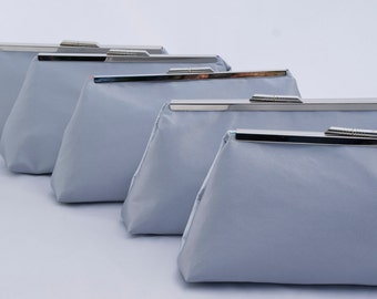Set of (5) Silver Satin Bridesmaids Handbag Gift Clutch Handbag for Bridal Party Gift Custom Design your own in any color.