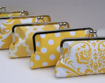 Yellow Wedding Clutch Handbag Set for BridesmaidsGift - Design your Own in Various Colors
