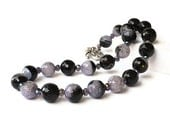 Purple Black Agate Necklace. Christmas gift