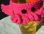 Crochet C'thulhu Coffee Cup Cozy, Pink