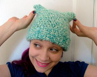 Blue Crochet Beanie, Nubby Ears