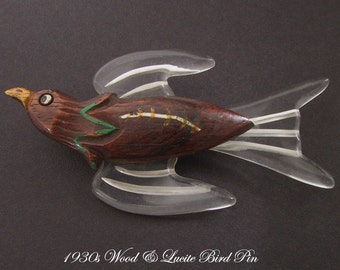 Vintage Carved Wood & Lucite Bird Pin 1930s Vintage Plastic Jewelry