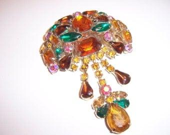 Large Vintage Multi Colored Glass Rhinestone Dangle Drop Brooch Pin