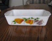 Fire King Glass Gay Fad Baking Bread Loaf Pan Hand Painted Fruit 409