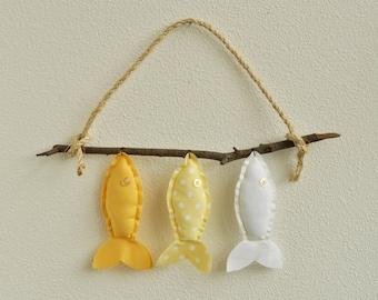 Custom Three Wish Fish in Yellow - Nursery Wall Decor - Baby Mobile