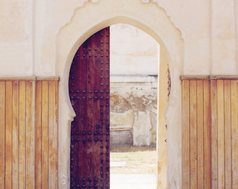 "Moroccan Archway, Morocco, travel, wood, door, ornate, grey, nuetral, architecture, brown, simple, fine art photograph 8""x12"""
