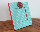 Picture Frame Magnet, Turquoise and Red