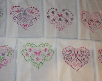 Open Hearts Machine Embroidered Quilt Blocks Set