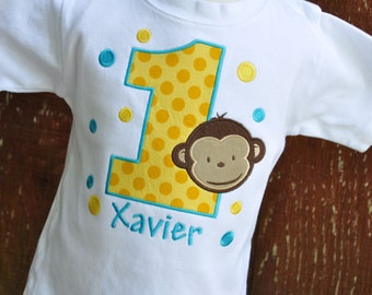 Personalized Monkey Boy Kids Birthday Shirt / Polka Dots