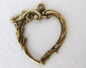 Antiqued Brass Ox Open Heart Pendant Charm 27mm drp0046 (4)