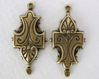 Vintage Style Embossed Scroll Connector Antiqued Brass Ox Drop Link 28mm cnn0046 (6)