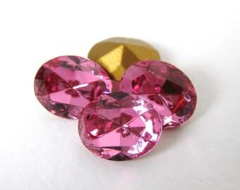 Vintage Swarovski Crystal Rhinestone Rose Pink Oval Glass Jewel 10x8mm swa0427 (4)
