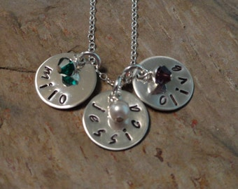 Three Names - Personalized Charm Necklace - Birthstone Jewelry - Mothers Necklace - Sterling Silver