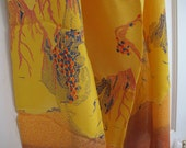 Vintage 70s Fabric, Crepe Abstract Border Print, Yellow and Brown Draping Fabric