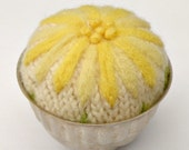 Wool Flower Pin Cushion Vintage Tin Pin Keep Yellow Daisy Up-Cycled Sweater Wool
