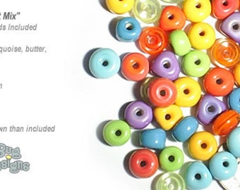 ACCENT Handmade Lampwork Beads 15 Spacers Island Mix by DesertBug Designs