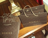 12 Authentic Gucci Shopping Bag Embossed Logo nine inches x 6  Gift Favor Treats Designer