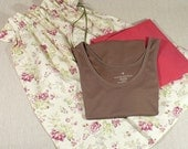 Cottage Chic,  Laundry Bag, Travel, Storage,  Pink, Raspberry and Cream floral, Cotton, Drawstring Bag