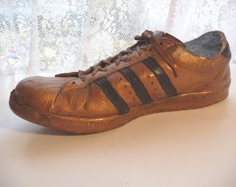 Vintage Adidas, tennis shoe, vintage art, home decor, unique, conversation piece, bronze painted, shoe, sports, gift idea, man cave,athletic