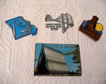 Vintage Souvenir Magnets, Vintage Magnets, Magnet Collection, Four Magnets, USAF Academy, Missouri, Royal George Bridge, Palo Duro Canyon