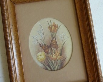 SALE vintage Butterfly picture, wall hanging, framed picture, vintage home decor, picture mat, unique picture, flowers, Kay Lamb Shannon,art