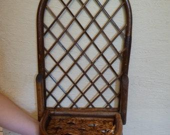 Vintage Wall Hanging, Brown Wicker, Vintage Shelf, Vintage Home Decor, Plant Shelf, Foldable Shelf, Unique, Shabby Cottage, Display Shelf