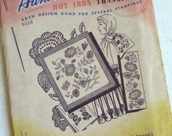 Simplified Crewel,  Aunt Marthas, Vintage Transfers, Hot Iron Transfers, Sewing Pattern, Needlework, Textile Painting, Flowers, Supplies