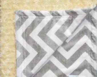 Grey and white chevron minky with yellow minky swirl baby blanket