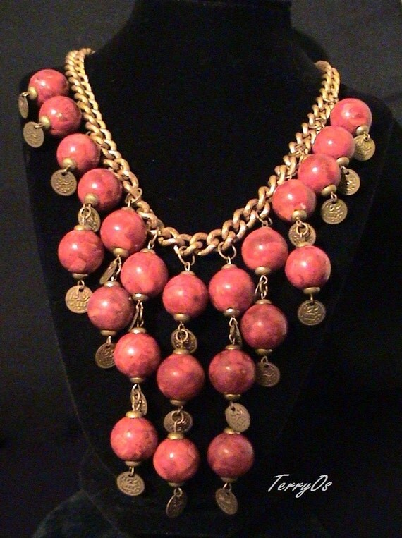Dangling Coral, Brass, Coin Bib Necklace