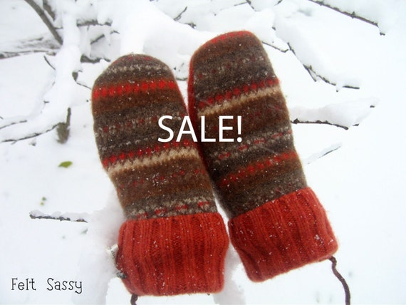 SALE - Chidren's Felted Mittens - Autumn - Fully Lined - Recycled Wool Sweater - by Felt Sassy