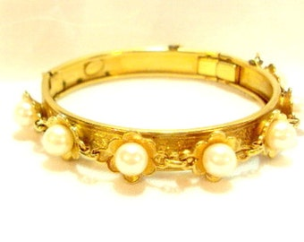 Vintage Faux Pearl Bangle by Frierich